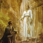 The angel Moroni directs Joseph Smith to the buried plates of the Book of Mormon