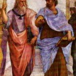 "Detail from Raphael's ""Academy of Athens"" showing Plato (on the left, pointing heavenward) with his student Aristotle (on the right, gesturing toward the earth).  The painting is located in the Vatican apartments, and the gestures summarize the fundamental orientations of the two men."