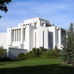 "The Cardston Alberta Temple of the Church of Jesus Christ of Latter-day Saints. Designed somewhat in the ""prairie style"" of Frank Lloyd Wright and dedicated in 1923, it has no connection with this blog entry.  I just really like it."