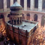 The traditional site of Christ's tomb, within the Church of the Holy Sepulcher in Jerusalem