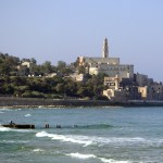 Jaffa, walking toward it from Tel Aviv (i.e., from the north). The tower is that the St. Peter's Church, commemorating his vision in the home of Simon the Tanner