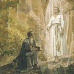Joseph Smith receives the plates of the Book of Mormon from the angel Moroni