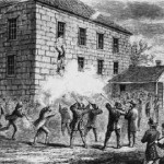 Joseph Smith, under fire from both within the building and without it, falls from the window of Carthage Jail on 27 June 1844.  The men on the ground will prop him up against a well and complete their mission.