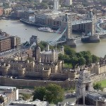 The Tower of London from the air, with Tower Bridge over the River Thames in the background (click to enlarge)