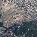 The tell or mound of the ancient biblical city of Jericho from the air