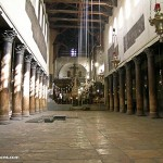 Inside the ancient Church of the Nativity in Bethlehem