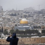 Snow on the Dome of the Rock and the Temple Mount in Jerusalem (Click on the image to enlarge it.)
