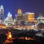 Cincinnati, looking  northward across the Ohio River (Click to enlarge)