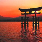 A Shinto jinja, or shrine, at sunset