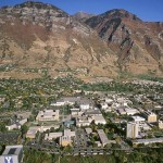 An aerial view of Brigham Young University's campus in Provo, Utah