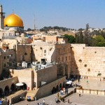 """The Western Wall (or """"Wailing Wall"""") in Jerusalem, with the golden Dome of the Rock behind it on the ancient Temple Mount platform built by King Herod the Great (Click to enlarge.  Click again to enlarge further.)"""