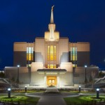 A nighttime view of the Calgary Alberta Temple (Click to enlarge.  Click again to enlarge further.)