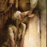 Christ heals the blind man (by Walter Rane)