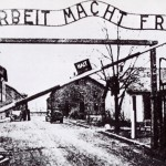 The entrance to the Nazi concentration camp at Auschwitz (Click to enlarge.  Click again to enlarge further.)