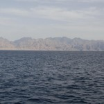 Looking across the Gulf of Aqaba, an arm of the Red Sea from the Sinai  toward Saudi Arabia