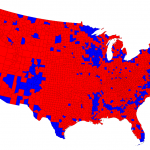 A county-by-county map of the 2012 presidential election Red = Romney, Blue = Obama (Click to enlarge)