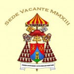 """The coat of arms of the Holy See during the """"sede vacante"""" (""""the seat/throne being empty"""") of 2013 -- no longer the papal arms of Benedict XVI, and not yet the pall arms of the as-yet-unelected Francis"""