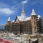 The Provo City Center Temple (shown here on 21 May) is under construction, using the shell of the nineteenth-century Provo Tabernacle, within walking distance of the conference venue.