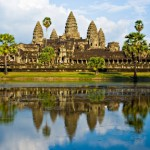 The temple complex of Angkor Wat in Cambodia, commenced in the twelfth century