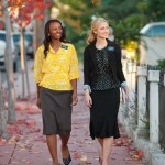 LDS sister missionaries, not members (so far as I know it) of Ordain Women
