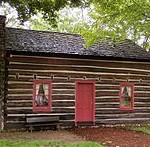 A replica of the Peter Whitmer log cabin in Fayette, New York