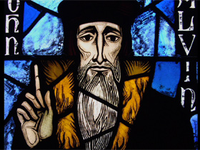 a stained glass Calvin