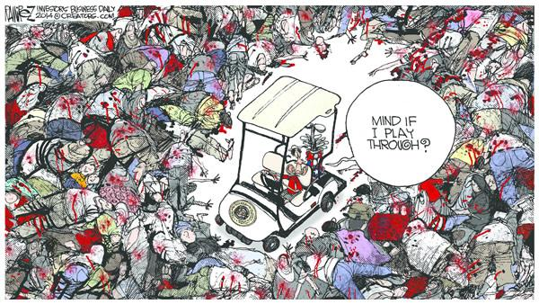Obama in golf cart amidst corpses