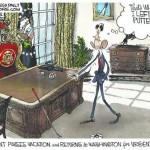 Ramirez on Obama on pausing his vacation