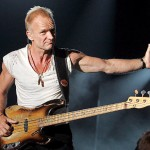 The musician Sting with bass guitar