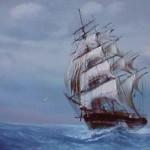 sailing ship on the open sea