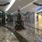 Lonely Christmas tree before doors open