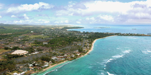 A view of Laie, with the PCC and BYUH