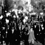 A mob with pitchforks and torches