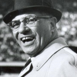 A 1962 photo of Vince Lombardi in black and white
