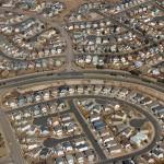 Aerial view of suburban housing development