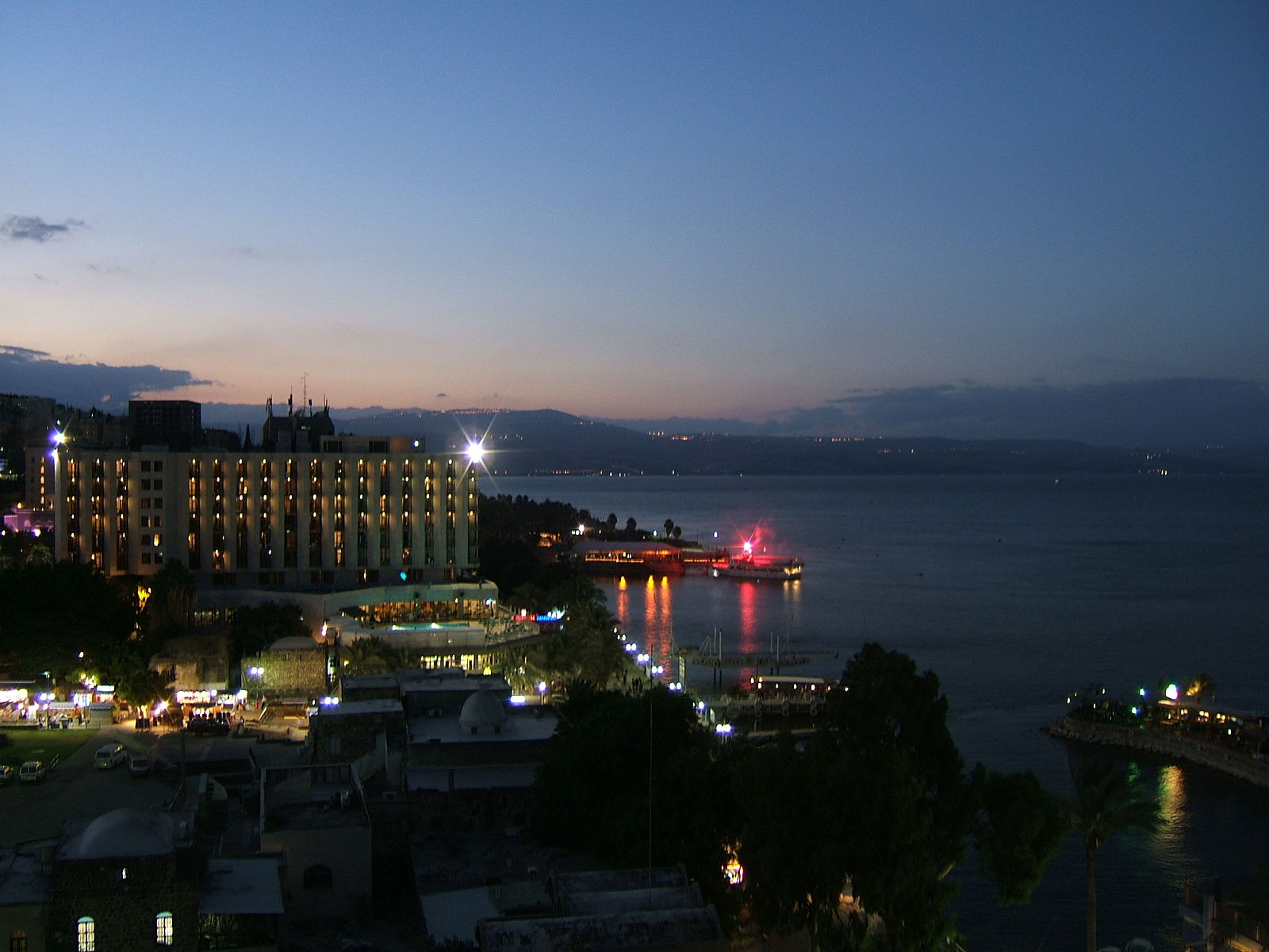 Tiberias at night, with lake