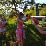 Girls in water fight
