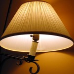 A lamp, with a shade