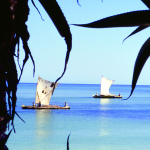A beach with two odd sailboats