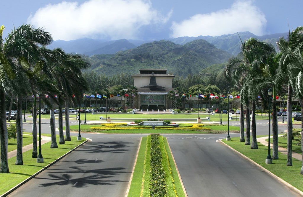 Approaching BYU's Laie campus