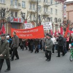 A communist march in Izhevsk, Russia, in 2008