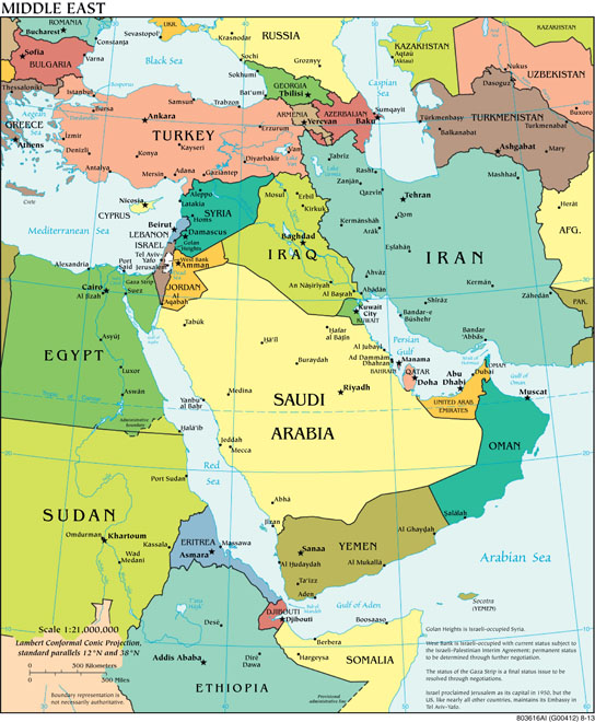 A map of the Middle East in political terms