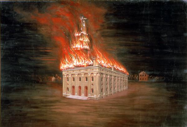 CCA Christensen, Nauvoo Temple in flames