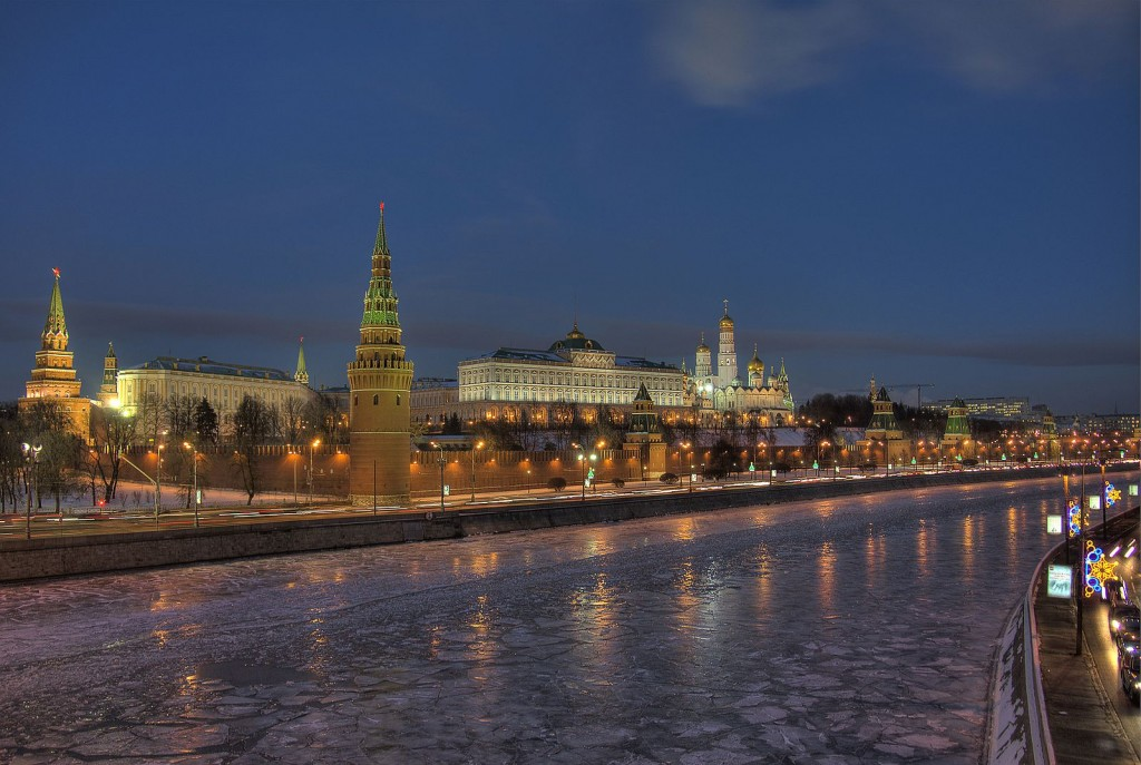 The Moscow Kremlin at night, on the river