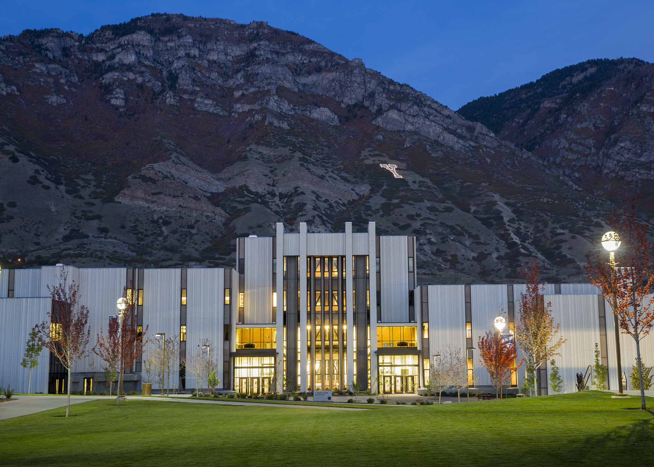 BYU's law school, in the evening