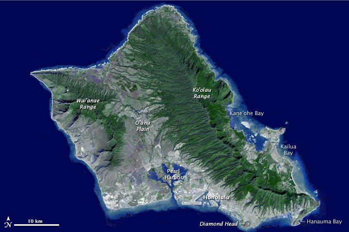 NASA view of Oahu, with annotations