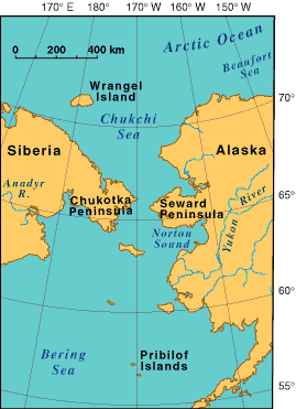USGS map of Bering Straits