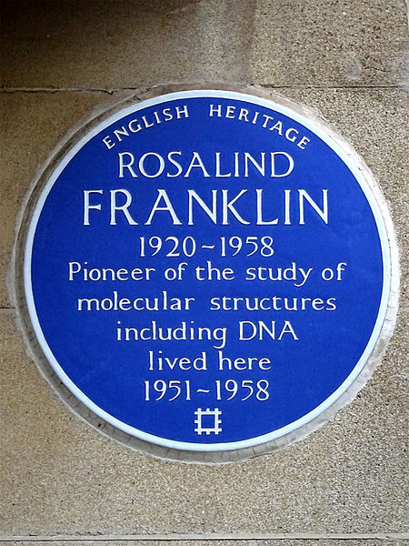 English Heritage plaque for Rosalind Franklin