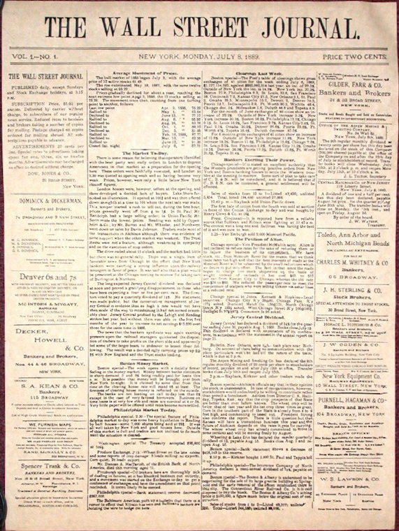 1st issue of WSJ