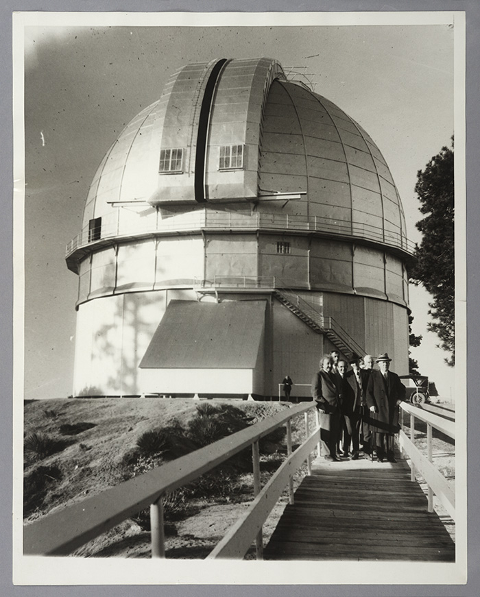 Einstein, Hubble, and others atop Mount Wilson